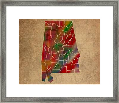 Counties Of Alabama Colorful Vibrant Watercolor State Map On Old Canvas Framed Print by Design Turnpike