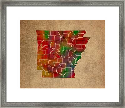 Counties Of Arkansas Colorful Vibrant Watercolor State Map On Old Canvas Framed Print by Design Turnpike