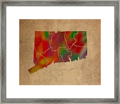Counties Of Connecticut Colorful Vibrant Watercolor State Map On Old Canvas Framed Print