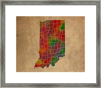 Counties Of Indiana Colorful Vibrant Watercolor State Map On Old Canvas Framed Print by Design Turnpike