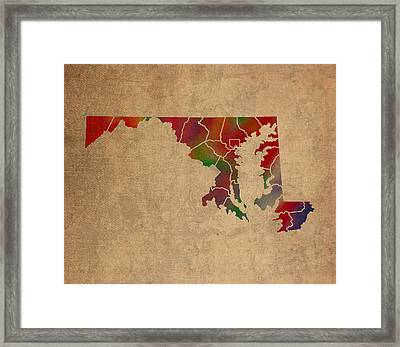 Counties Of Maryland Colorful Vibrant Watercolor State Map On Old Canvas Framed Print by Design Turnpike