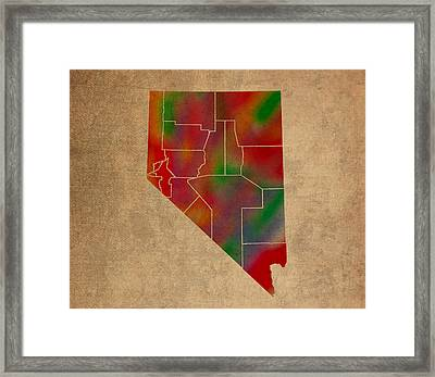 Counties Of Nevada Colorful Vibrant Watercolor State Map On Old Canvas Framed Print