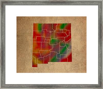 Counties Of New Mexico Colorful Vibrant Watercolor State Map On Old Canvas Framed Print