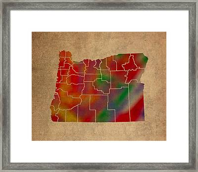 Counties Of Oregon Colorful Vibrant Watercolor State Map On Old Canvas Framed Print by Design Turnpike