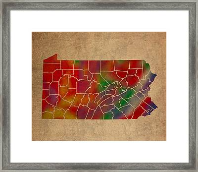 Counties Of Pennsylvania Colorful Vibrant Watercolor State Map On Old Canvas Framed Print by Design Turnpike
