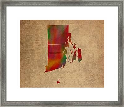 Counties Of Rhode Island Colorful Vibrant Watercolor State Map On Old Canvas Framed Print by Design Turnpike