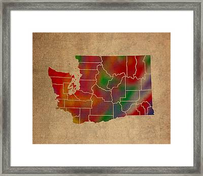 Counties Of Washington Colorful Vibrant Watercolor State Map On Old Canvas Framed Print