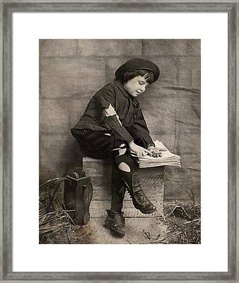 Counting His Money Framed Print by David  Hicks