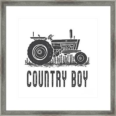 Framed Print featuring the digital art Country Boy Tractor Tee by Edward Fielding