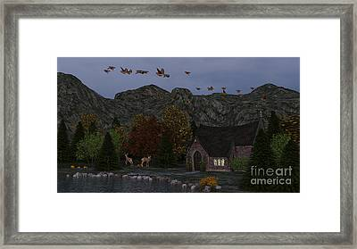 Framed Print featuring the digital art Country Church Autumn At Twilight by Methune Hively