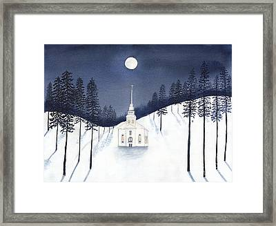 Country Church In Moonlight 2, Silent Night Framed Print