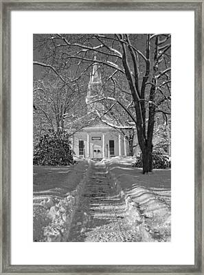 Country Church In Winter Maine Black And White Photo Framed Print by Keith Webber Jr