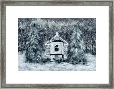 Country Church On A Snowy Night Framed Print by Lois Bryan