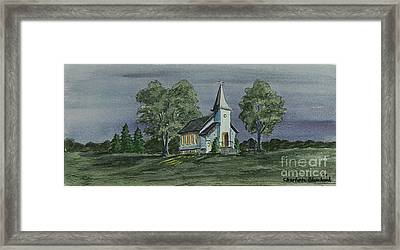 Country Church On A Summer Night Framed Print by Charlotte Blanchard