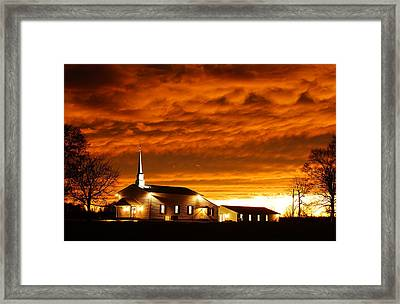 Country Church Sundown Framed Print by Keith Bridgman