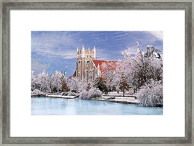 Framed Print featuring the photograph Country Club Christian Church by Steve Karol