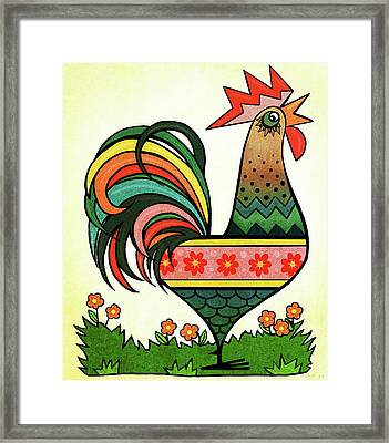 Rise And Shine Rooster Framed Print by Little Bunny Sunshine