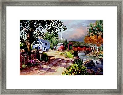 Country Covered Bridge Framed Print by Ron Chambers