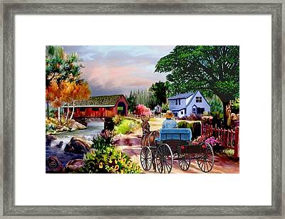 Country Covered Bridge V2 Framed Print by Ron Chambers