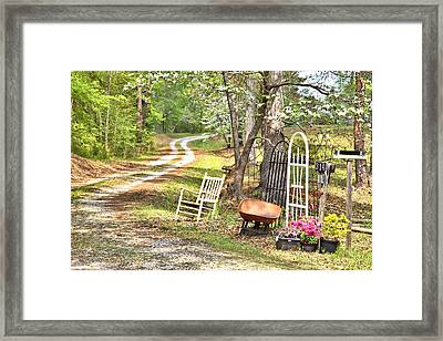 Country Driveway In Springtime Framed Print