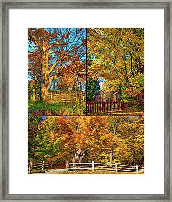 Country Fences Collage - Paint Framed Print by Steve Harrington