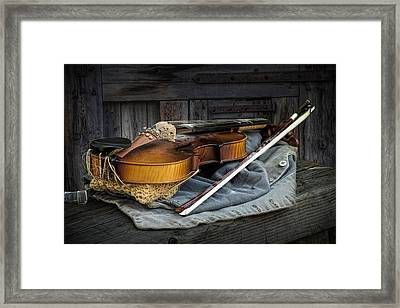 Country Fiddle Stringed Instrument With Bow Framed Print