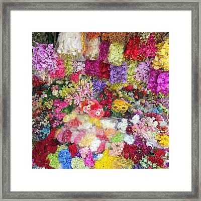 Country Flower Garden Colourful Design Framed Print