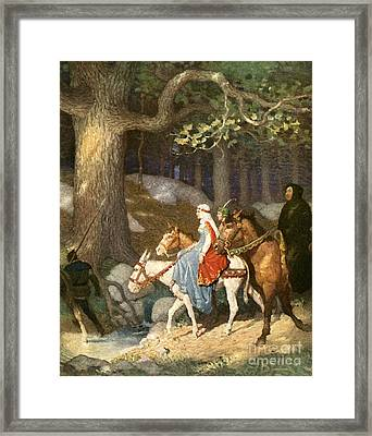 Country Folk Wending Their Way To The Tourney Framed Print by Newell Convers Wyeth