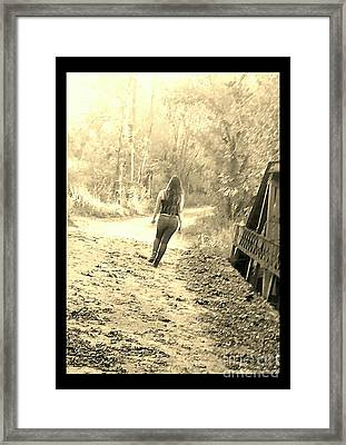Country Girl Walking - Sepia With Border Framed Print by Scott D Van Osdol