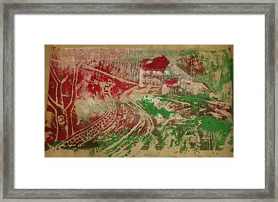 Country Home With Cottage Framed Print