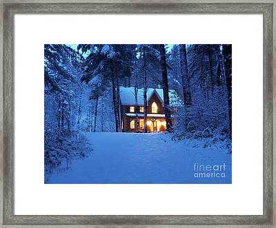 Country House With Lights On Snowy Winter Evening Ontario Canada Framed Print