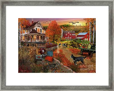 Country Inn And Farm Framed Print by MGL Meiklejohn Graphics Licensing