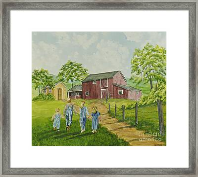 Country Kids Framed Print by Charlotte Blanchard