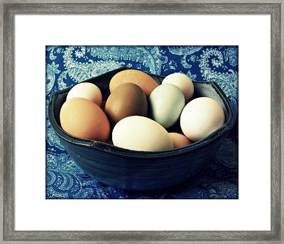 Country Kitchen Blues Framed Print by Amy Schauland
