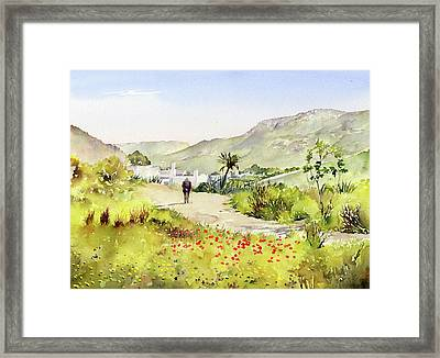 Country Lane In Spring Framed Print by Margaret Merry