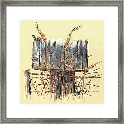 Country Mailbox In Colored Pencil Framed Print