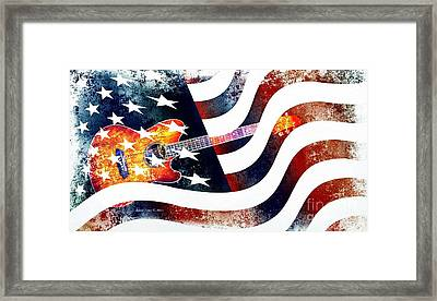 Country Music Guitar And American Flag Framed Print
