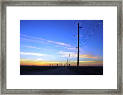 Framed Print featuring the photograph Country Open Road Sunset - Blue Sky by Matt Harang