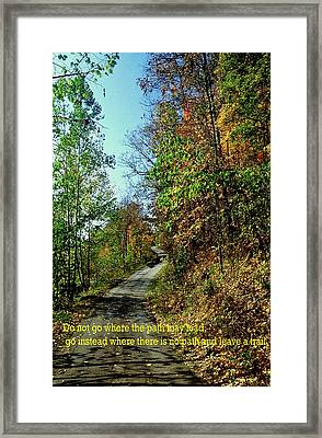 Country Path Framed Print by Gary Wonning