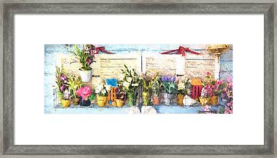 Country Porch Flowers Framed Print by Gary Guthrie