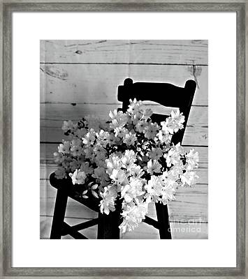 Country Porch In B And W Framed Print by Sherry Hallemeier