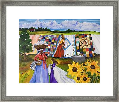 Country Quilts Framed Print by Diane Britton Dunham