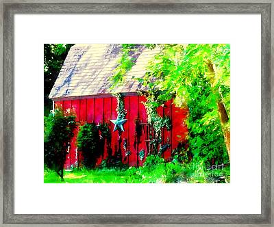 Country Red Barn Star Framed Print by Janine Riley