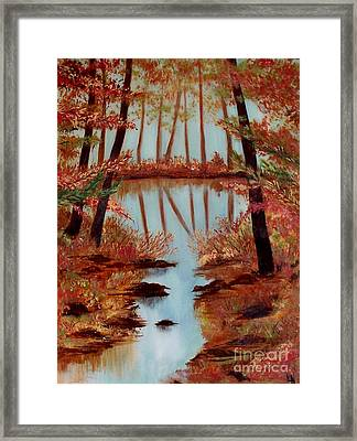 Framed Print featuring the painting Country Reflections by Leslie Allen