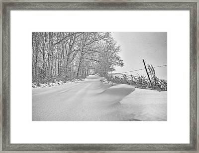 Country Road Blizzard  Framed Print by SharaLee Art