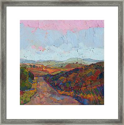 Framed Print featuring the painting Country Road by Erin Hanson