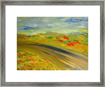 Framed Print featuring the painting Country Road by Evelina Popilian