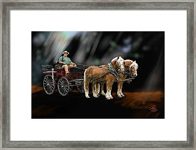 Country Road Horse And Wagon Framed Print