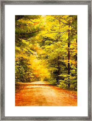 Country Road In Autumn Digital Art Framed Print