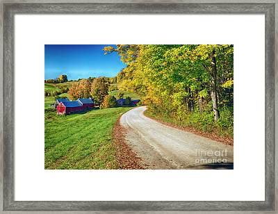 Country Road With A Farm Framed Print